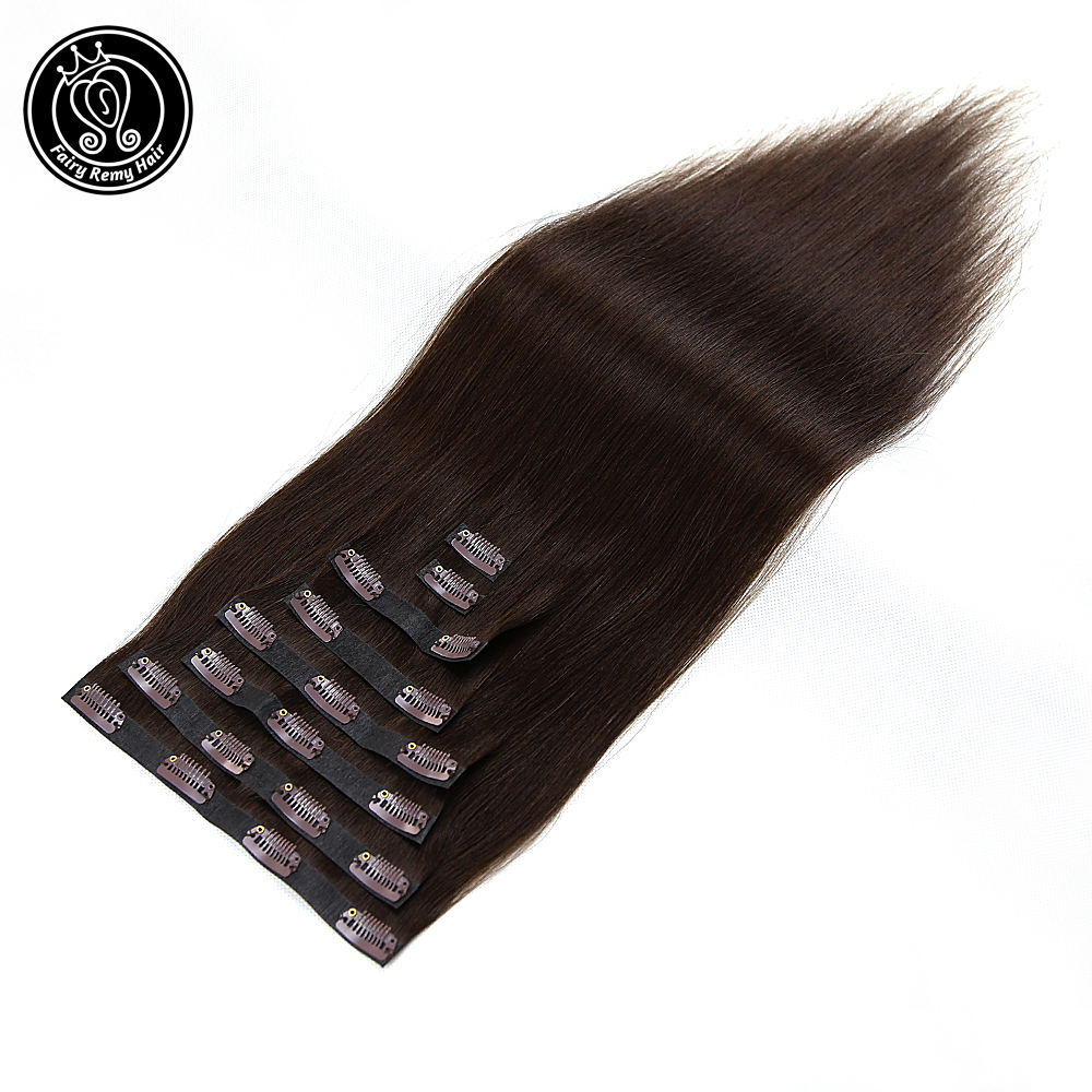 Human-Hair-Extensions Remy-Hair Clip-In Full-Head Straight PU 8pcs 18-Fairy 170g/Set title=