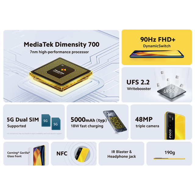 POCO M3 Pro 5G Global Version NFC Smartphone 4+64/6+128 Dimensity 700 Octa Core 90Hz FHD+DotDisplay 5000mAh 48MP Triple Camera 2