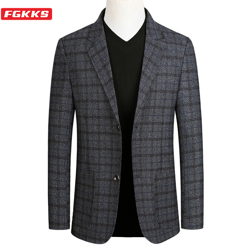 FGKKS Fashion Brand Men Plaid Blazers Autumn New Men's Slim Fit Trend Wild Business Suit Jacket High Quality Casual Blazer Male