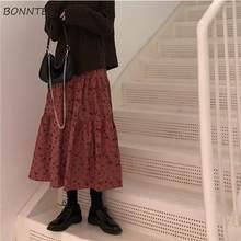 Spódnice w stylu Empire damskie Retro kwiatowy wzór A-line piękne falbany Mujer Faldas koreańska, wiosenna jesienna odzież damska Chic nowość
