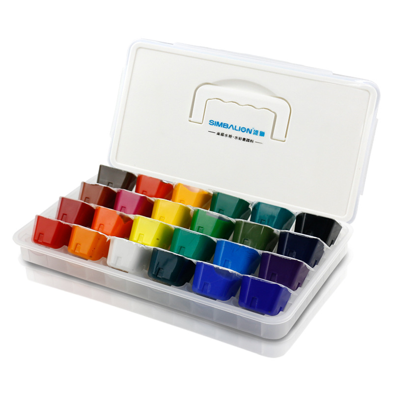 24 Color Gouache Paint Jelly Paint Set Children Beginner Elementary School Gouache Painting Materials Pigment