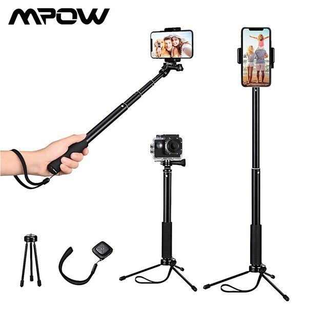 Mpow 074 Bluetooth Selfie bâton extensible Selfie bâton trépied intégré GoPro connecteur détachable trépied support pour téléphone Selfie