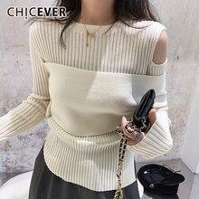 Женский трикотажный свитер с круглым вырезом длинным рукавом