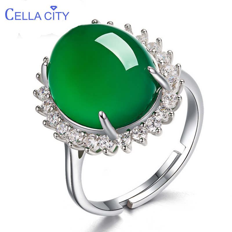 Cellacity 925 Silver Ring For Women Fine Jewelry With Green Chalcedony Gemstones Ethnic Holiday Gift Anniversary Accessories