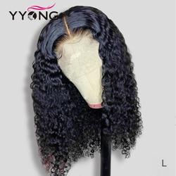 Perruque Lace Front Wig naturelle ondulée brésilienne-YYONG, 6x1, perruque Bob avec naissance des cheveux pre-plucked, 6x1 et 13x4