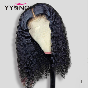 YYONG 6x1 Topline Lace &13x4 Lace Front Human Hair Wigs Brazilian Water Wave Human Hair Short Bob Wig With Pre Plucked Hairline