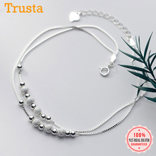 Anklet Box-Chain Frosted Authentic Jewelry Bead 925-Sterling-Silver S925 Women Trustdavis
