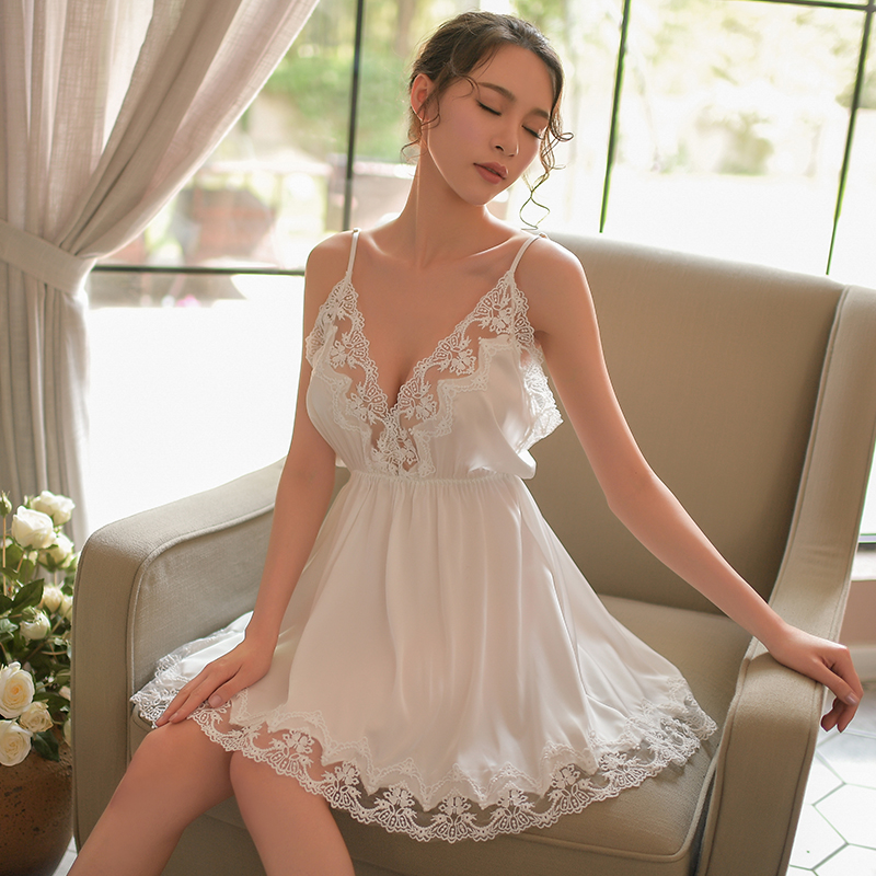 Womens Nightgown Sleepwear Ropa Para Dormir Mujer Women Sleeveless Sling V Neck Halter Dress Home Nightgown Set