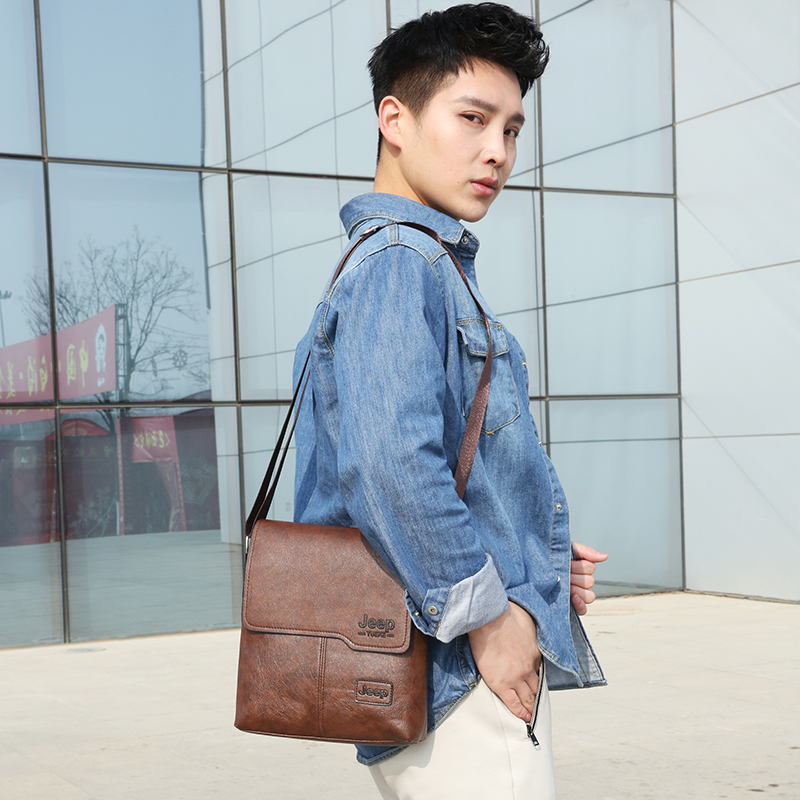 Fashion Men's Handbag Shoulder Bag Vintage Trends PU Leather Retro Messenger Bag Stylish Casual Male Crossbody Shoulder Bag 3