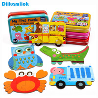 6 ピース/箱大型木製パズルベビー動物と交通車両マッチングジグソーパズル子供の学習教育のおもちゃ