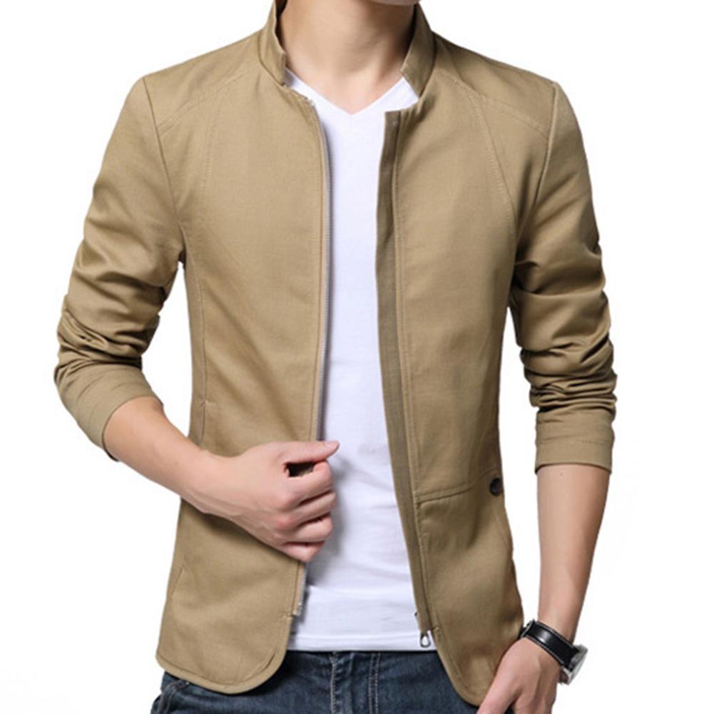 Casual Men Autumn Solid Color Stand Collar Zipper Pockets Thin Slim Blazer Coat Mens Fashion Brand Blazer Jacket For Men