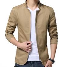 Casual Men Autumn Solid Color Stand Collar Zipper Pockets Thin Slim Blazer Coat