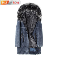 Winter Jacket Men Parka Real Rex Rabbit Coat Fox Fur Collar Long Denim Jackets New Blouson Homme Hiver A5A59 B21555 cheap Thick (Winter) Liner Detachable Adjustable Waist Zippers Pockets Solid Wide-waisted Turn-down Collar Casual Full Leather Suede