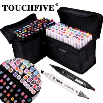 Touchfive Alcohol Brush Markers Double Tipped Sketch Markers for Kids, Artist Art Markers, Adult Coloring and Illustration domino with markers double 6 double 9 double 12