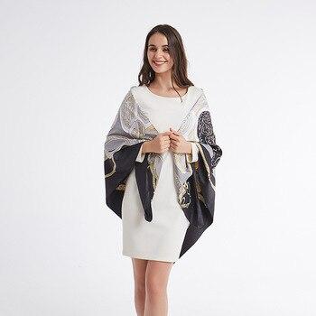 ¡Novedad de 130x130CM! Bufanda negra de seda estampada grande y cuadrado de 2020 CM, chal elegante y a la moda para mujer, bufandas para regalo