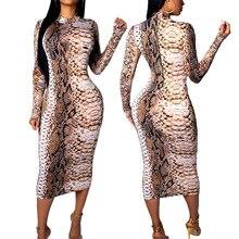 S-6XL Plus Size Women Snakeskin Print Dress 2019 Autumn Vintage Oversized Maxi Ladies Long Sleeve Sexy Bodycon Dresses