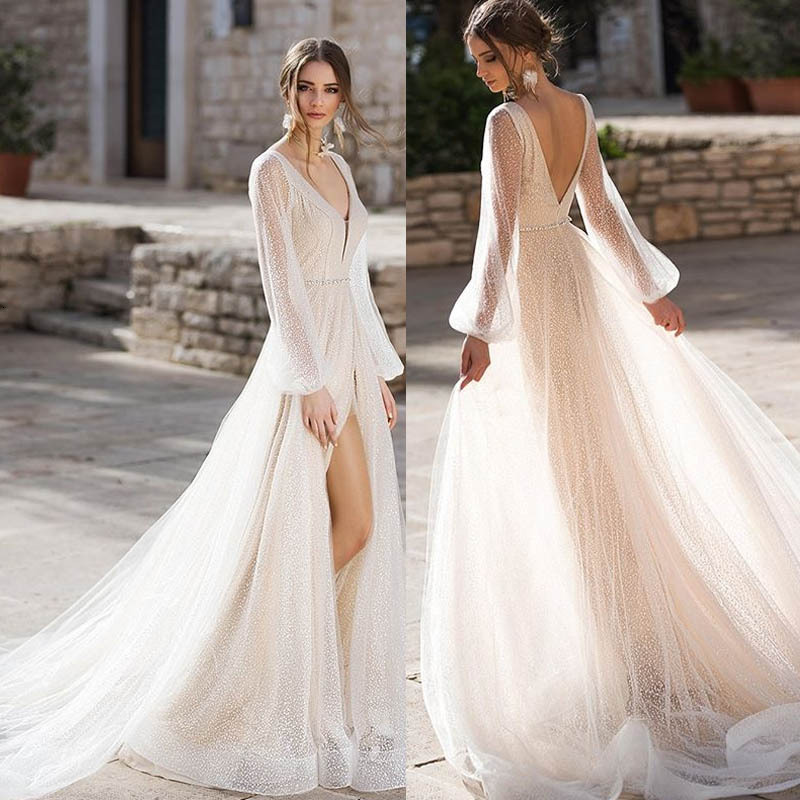 BacklakeGirls 2019 Sexy V Neck Full Sleeve Soft Tulle Party Dress Long Evening Dress Robe De Soiree Longue Femme Real Pictures