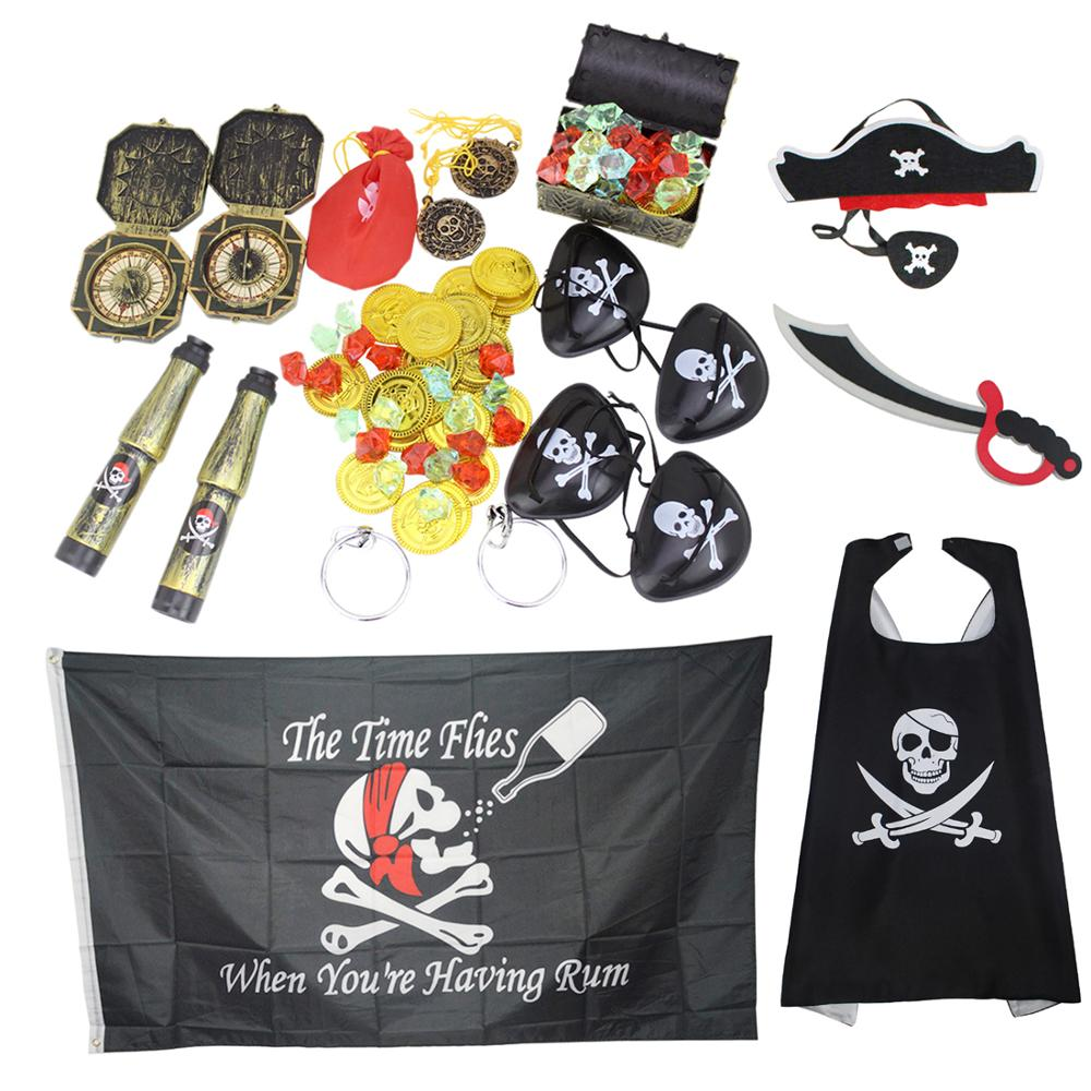 62Pcs Kid's Party Pirates Costume Props Set With Pirate Gold Coins Pirate For Party Decorations With Skeleton Flag Cloak Suit