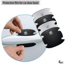 4 pçs maçaneta da porta do carro de fibra carbono adesivos automotivo bens adesivo para suzuki swift grand vitara jimny sx4 alto acessórios