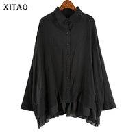 XITAO Vintage Patchwork Chiffon Blouse Women Cover Belly Loose Elegant Shirt Korean Turn Down Collar Single Breasted WQR1820