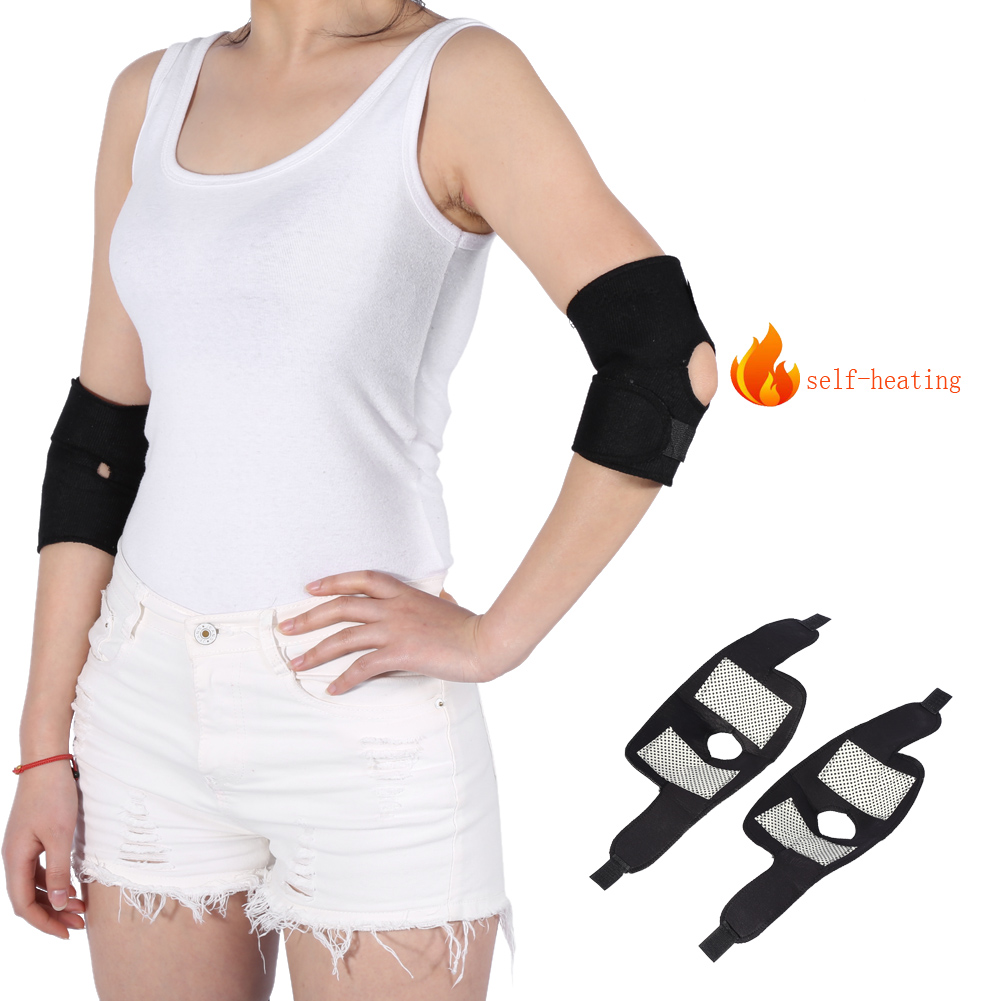 1 Pair Self-heating Tourmaline Elbow Support Adjustable Elbow Braces Belts Elbow Arthritis Treatment Pads Health Care Tool