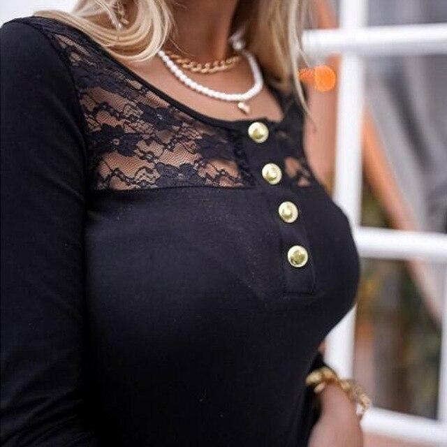 2021 Fashion Spring Ladies Mesh Lace Blouse Elegant Long Sleeve Autumn Shirt Pullover Women Casual O Neck Button Slim Tops Blusa 6