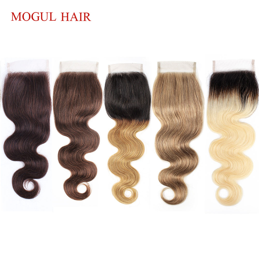 MOGUL HAIR Color 8 Ash Blonde Dark Brown Remy Human Hair Closure Indian Body Wave Hand Tied 4*4 Lace Closure Free Middle Part
