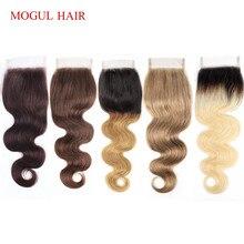 MOGUL HAIR perruque Lace Closure naturelle indienne Remy, Body Wave, couleur 8 blond frêne, brun foncé, attaché à la main, 4*4, partie libre au milieu