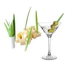 10 unids/set hoja de bambú de la fruta tenedor creativo palos Buffet de horquillas de boda decoraciones de cumpleaños cocina gadget