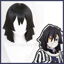 Demon Slayer: Kimetsu no Yaiba Iguro Obanai Cosplay Wig Black Synthetic Hair Halloween Concert Role Play Styled Wig for Adult