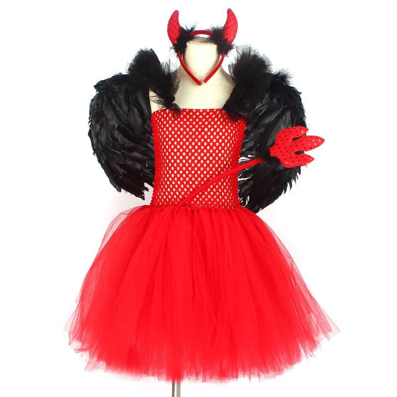 Halloween LIGHT UP RED TUTU GLOW IN THE DARK DEVIL HORN Halloween Fancy UK
