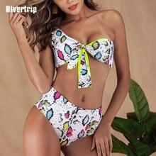 Rivertrip Snake Print Bikini One Shoulder Swimsuit High Waist Beachwear Sexy Swimwear Women New Bathing Suit 2019 Biquini