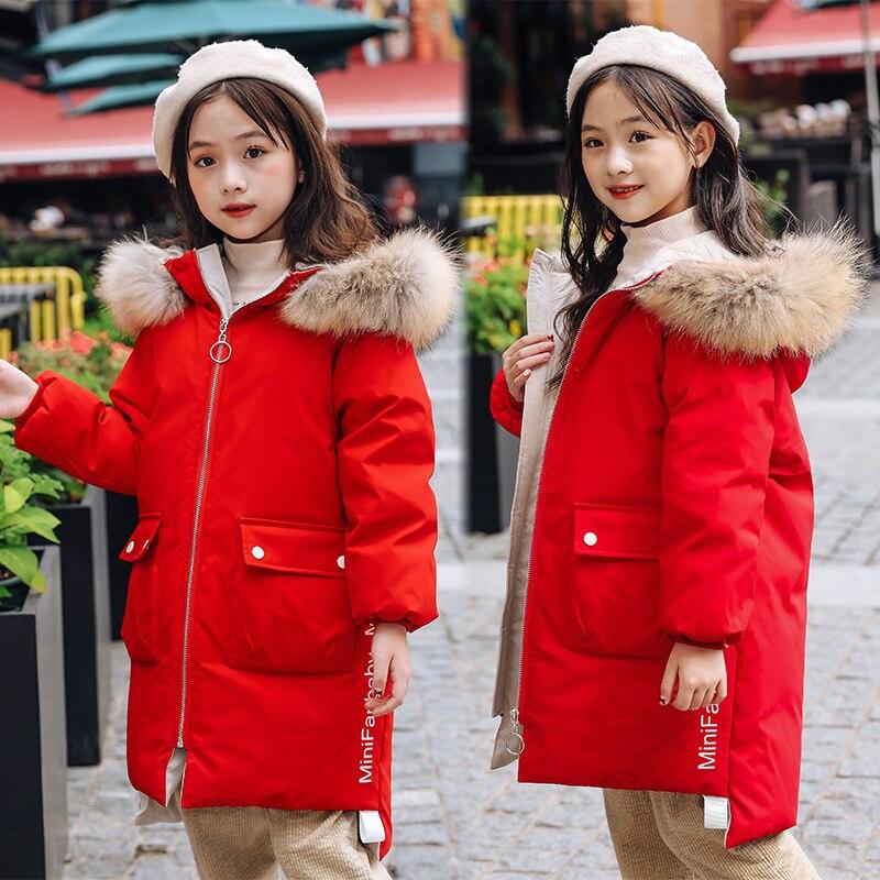 -30 degrés filles doudoune enfants épais naturel col de fourrure blanc canard vers le bas hiver manteau grands enfants à capuche chaud adolescent vêtements - 3