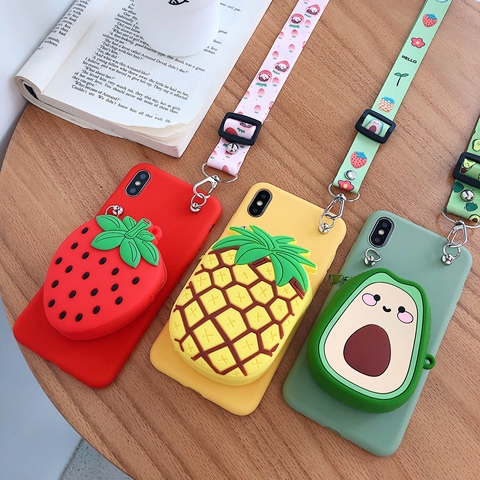 Zipper Wallet Phone Case for Samsung Galaxy A70 A60 A50 A40 A30 A20 A10 A80 M30 M20 M10 Fruit Cartoon Soft Silicone Cover skin Lahore