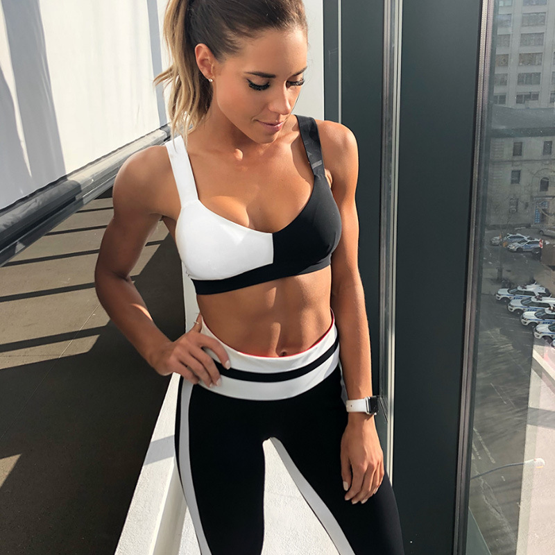 yoga set female sport gym clothes for women workout long capris and short sport bra black and white training running clothing