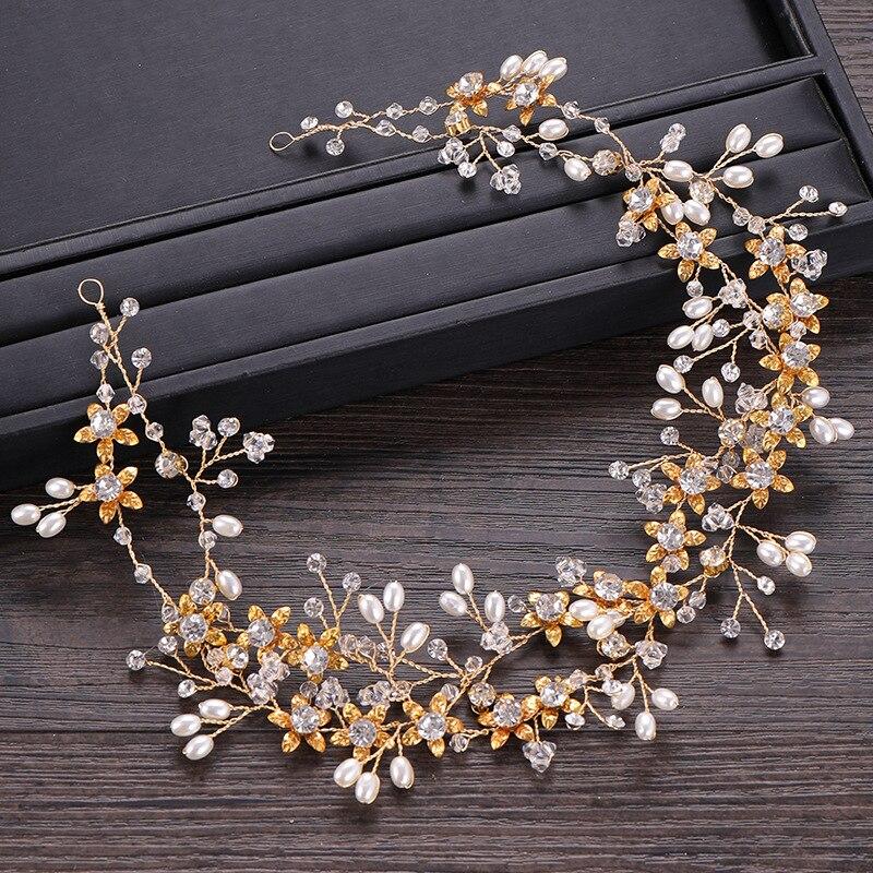 Crystal Pearl Bride Gold Hairband Headdress Studio Shot Bridal Jewelry Wedding Dress Accessories
