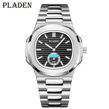 2020 yeni PLADEN saatler erkekler lüks marka Chronograph erkek spor saatler suya dayanıklı paslanmaz çelik Roger kuvars erkek saati