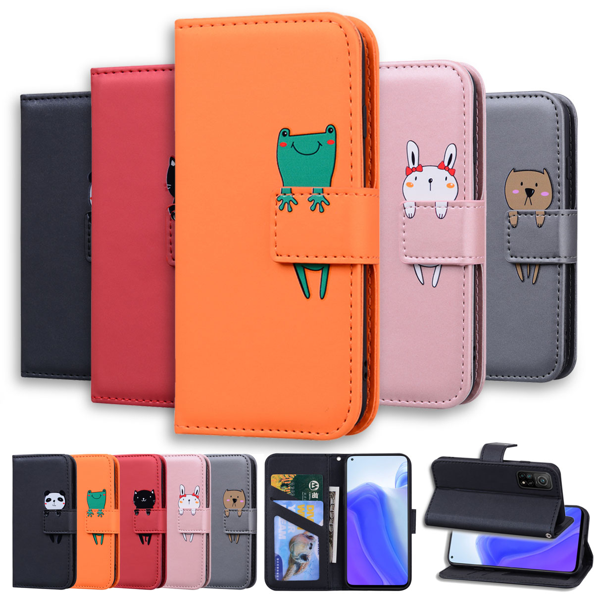 Lovely Animal Flip Leather Phone Case For Xiaomi POCO X3 NFC Redmi Note 9 9S 9A 9C 7 8 8T 7A 8A Mi 10 9T Pro Card Holder Cover