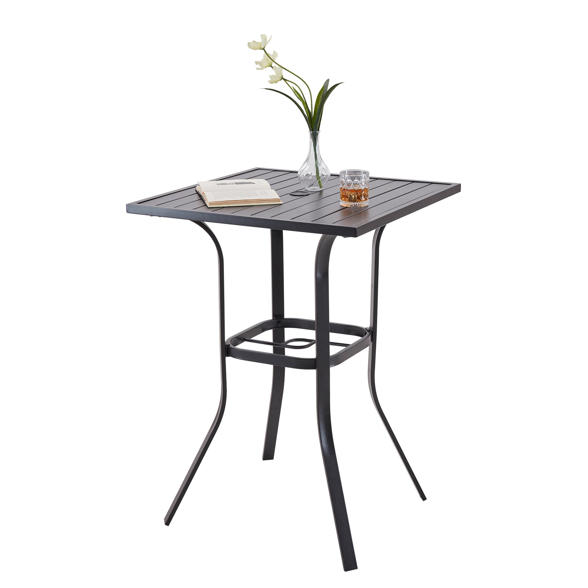 square patio coffee tables for garden furniture durable camping metal dining table with umbrella hole high bar tables