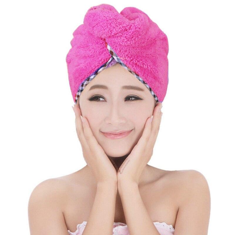 2Pcs Hair Quick Drying Towel Microfiber Wrapped Shower Bathing Cap with Button Touca de banho Bonnet de douche HTQ99