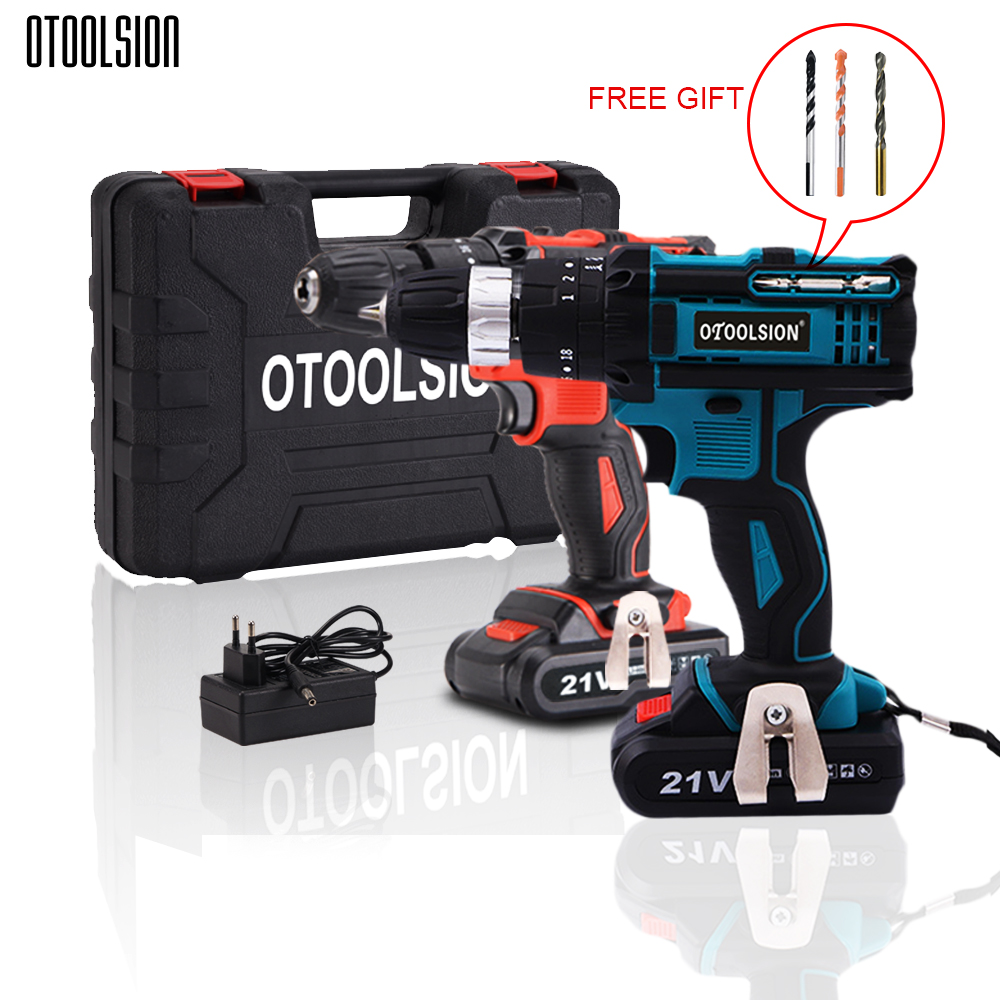 New 21V Impact Electric Screwdriver Drill Screwdriver Cordless Tools Hammer Power Tools Hammer Drill Electric With Tool Box