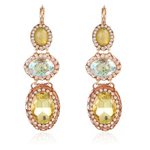 цена на ELEGANCE11 Crystal Gem Dangle Earrings Winter Kpop Earrings Colorful Drop Pendant Earrings for Women Christmas Jewelry
