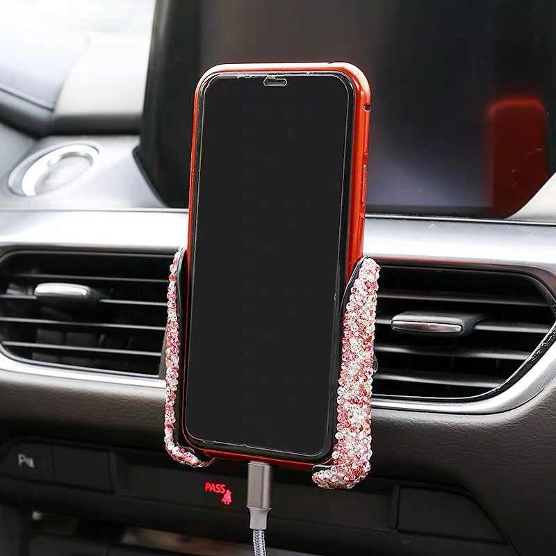 Universal Car Phone Holder With Bing Crystal Rhinestone Car Air Vent Mount Clip Silver/Purple/Pink