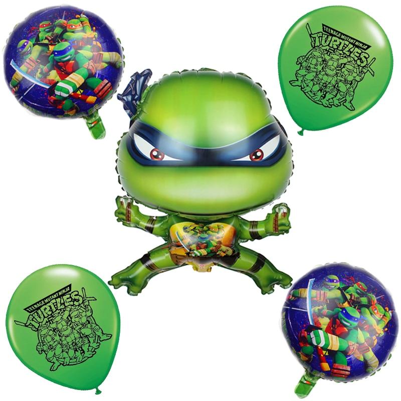 Фольгированные Воздушные шары 5 шт./лот с изображением зеленых черепашек, животных, шары на день рождения, праздник для будущей мамы, украшен...