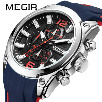 <font><b>Megir</b></font> Men's Chronograph Analog Quartz Watch with Date, Luminous Hands, Waterproof Silicone Rubber Strap Wristswatch for Man image