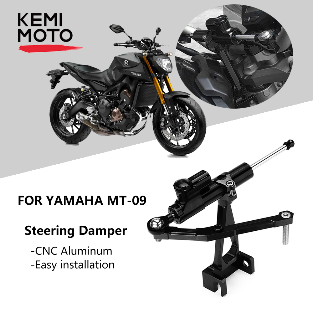 FXCNC Racing Motorcycle Adjustable Steeering Damper with Mounting Bracket Kits fit for Yamaha MT-09 FZ-09 Tracer 2015 2016 2017 2018 2019 (Yamaha 900 Tracer 2016)(Yamaha Tracer 900 GT 2019)