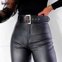 InstaHot черные брюки-карандаш с поясом и высокой талией женские брюки из искусственной кожи PU брюки с поясом повседневные пикантные Капри экск...