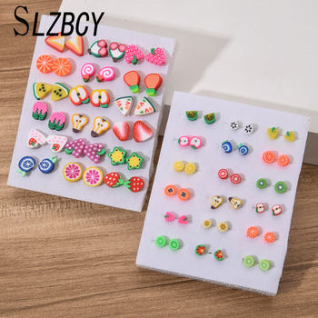 18Pairs/Set Fashion Fruit Plastic Stud Earrings Set for Women Girls Children Small Soft Clay Brinco Jewelry - discount item  30% OFF Fashion Jewelry