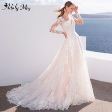 Adoly Mey Sexy Scoop Neck Full Sleeve A-Line Wedding Dress 2