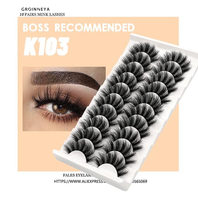 Lashes 5/10 Pairs 3D Faux Mink Lashes Fluffy Soft Wispy Volume Natural long False Eyelashes Eye Lashes Reusable Eyelashs Makeup 3